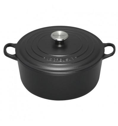 Le Creuset Signature Cast Iron 20cm Round Casserole-Satin Black